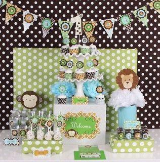 NEW Jungle Safari Baby Shower 1st Birthday Party Supplies Kit