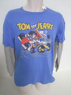 GAP Boys Blue Layered Long Sleeve TOM & JERRY Graphic T shirt XL,XXL