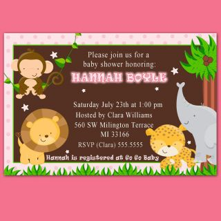 Jungle Safari Birthday Baby Girl Shower Invitations Cards Pink