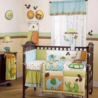 Jungle Safari Giraffe and Elephant Neutral Nursery Crib Baby Bedding