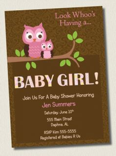 DAMASK BROWN & PINK OWL BABY GIRL SHOWER INVITATIONS BIRTHDAY PARTY