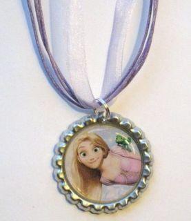 Boutique Bottlecap Necklace Rapunzel Pascal Chameleon Party Favors