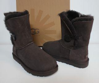 Ugg Bailey Button chocolate brown boots NIB