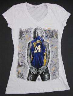 Marilyn LA T Shirt White clothing womens lakers basketball banksy