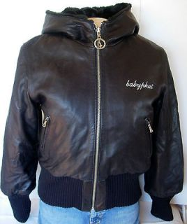 BABY PHAT Black Leather Faux Fur Reversible Hooded Bomber Jacket Coat