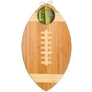NEW Super Bowl Party Bamboo Football Cutting Board Serving Platter