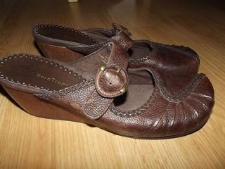 BARE TRAPS*SZ 9M BROWN LEATHER GINGER MARY JANE SLIDES MULES WOOD HEEL