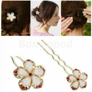 Vintage Beauty Crystal Rhinestone Flower Charm Hair Clip Barrette