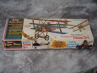 70`s Vintage ! Flying Balsa Wood Model Fokker Dr 1. Red Barons Plane.