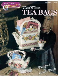 TEA TIME TEA BAGS, Plastic Canvas Pattern Book, 4 GIFT BAGS, New, Rare
