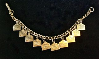 Vintage Goldentone Ten Commandments Bracelet! FREE SHIPPING!