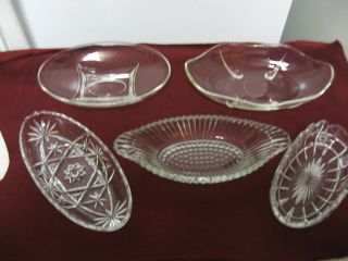 Lot 5 Older Various Clear Glass Banana Boat Style Candy,Sweets Bowls