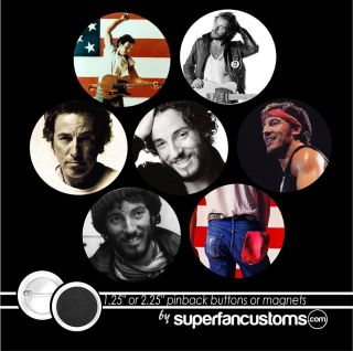 Bruce Springsteen SET of 7 PINBACK BUTTONS or MAGNETS pins the boss