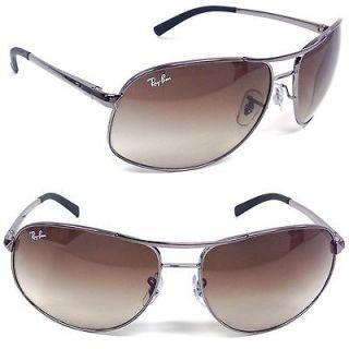 Ray Ban RB 3387 004/13 Gunmetal Aviator Sunglasses Brown Gradient Lens