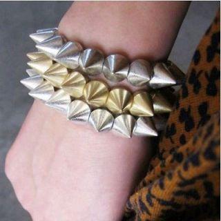 Hot Cool Rock Punk Elastic Stretch Studs Spike Rivets Bangle Bracelet