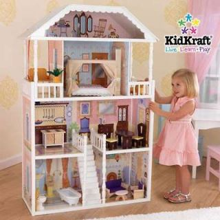 STORY DOLL HOUSE/MANSION w/FURNITURE SET   FITS BARBIE WOODEN/WOOD