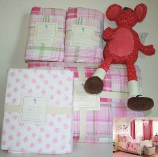 Pottery barn kids Madras Quilt Full Euro Shams Karina sheet set pink
