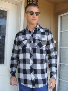 SAILOR JERRY Long Sleeve Cotton Flannel BUFFALO Gray & Black shirt S