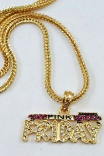 New Nicki Minaj Iced Out Friday Hip Hop Crystal Barbie GOLD TONE pink