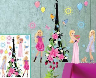 3D Wall Stickers Barbie Princess Kids Wall Decals Girl Room Decor DIY