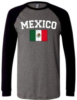 Country Flag Mens Raglan T Shirt Baseball Tee Mexican World Cup Soccer