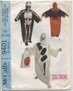 Sew Pattern Childs Costumes Robe w/ Appliques Ghost Bat Skelton Sz 2 4