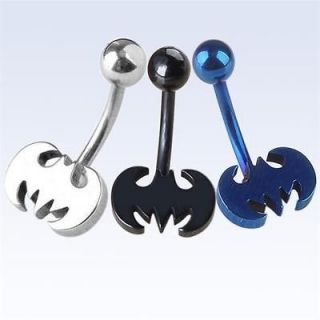 Steel Bat Batman Belly Button Ring Navel Bar Ring Body Piercing Punk