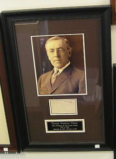 WOODROW WILSON PRESIDENT AUTOGRAPH SIGNED FRAMED INDEX CARD JSA