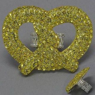 NEW Nicki Minaj Inspired Pretzel Crystal Stretchable RING *Fast Free