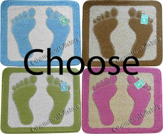 Two Feet Baths Mat Floor Rug 100% Polyester with Non Slip Rubber
