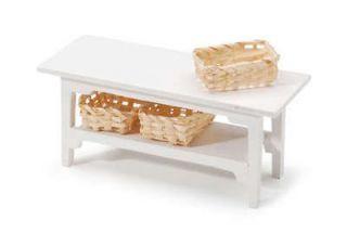 Dollhouse Miniatures White Side TABLE Darice Kitchen Use Breakfast Bar