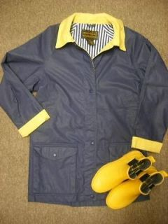 EDDIE BAUER Wms Blue RAIN COAT Jacket S & Yellow DUCK Rubber