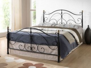 Black Antique Brass Small Double 3/4 (app 4ft 120cm) Metal Bed frame