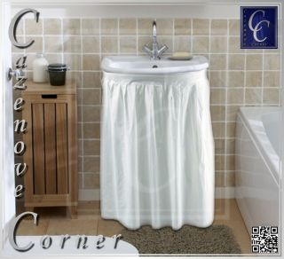 Wipe Clean Sink Curtain. Self adhesive, Easy fit Sink skirt for basin