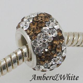 925 Sterling Silver Swarovski Crystal Big Hole Charm Bead Fit Bracelet