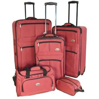 NEW CONFIDENCE 5 PIECE RED EXPANDABLE LUGGAGE SET WHEELED SUITCASES