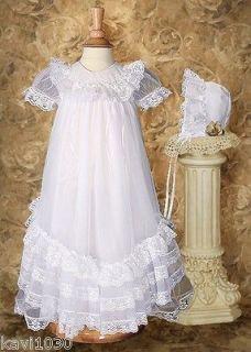 Girls White Christening Baptism Heirloom Tricot Gown Ruffles Raschel