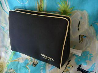 CHANEL COSMETIC BAG MAKEUP TRAVEL CASE CLUTCH BLACK / BEIGE TRIM