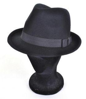VINTAGE Style Black Felt Trilby Hat L 59cm BNWT/NEW 100% Wool Fedora