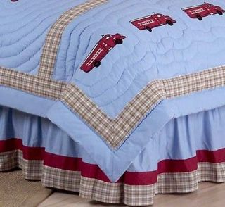 DESIGNS BLUE FIRETRUCK BOYS KIDS QUEEN BEDDING BED SKIRT DUST RUFFLE