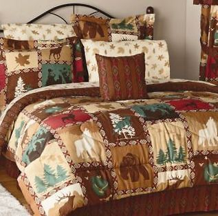 KING LODGE BED SET WOODLAND BEAR DEER WOLF COMFORTER SHAMS BED SKIRT