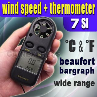 Anemometer Thermometer Air Wind Flow Meter Bar Graph Beaufort °C
