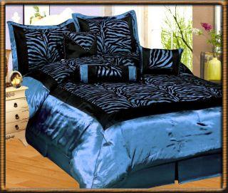 /Light Blue Flocking Zebra Pattern Bedding Comforter Set King Size