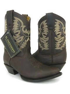 LADIES SHORT BROWN AUTHENTIC LEATHER SEXY WESTERN COWBOY BOOTS SHOES