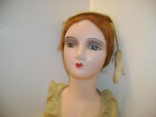 Vintage 1920s 25 Composition Head Hands Boudoir Doll Green Dress