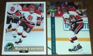 Martin Lacroix 2 card lot St Lawrence University Hockey