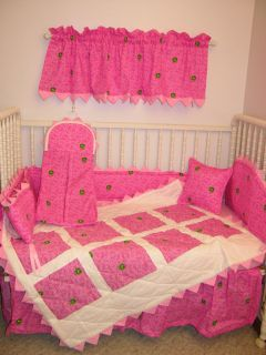 CRIB BEDDING SET MADE/W PINK PASLEY JOHN DEERE FABRIC *PRAIRIE POINTS*