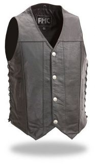 Mens Side Lace Buffalo Nickel Concealed Carry Motorcycle Vest Single