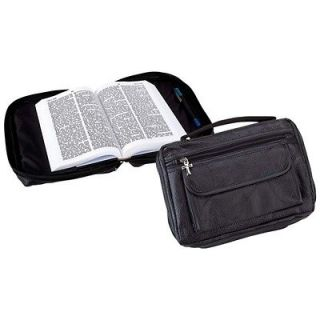 Genuine Black Leather Bible Book Cover Zipper Covers with pocket Free