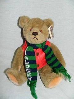 Vintage 1984 Gund 11 plush BIALOSKY TEDDY BEAR brown scarf Red Jacket